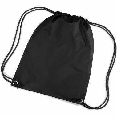 Goedkope 12x stuks zwarte sport gymtasjes rugzak