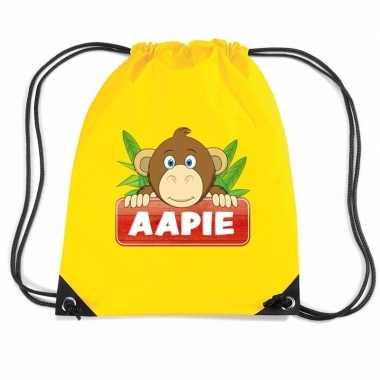 Goedkope aapie het aapje rugtas / gymtas geel voor kinderen rugzak