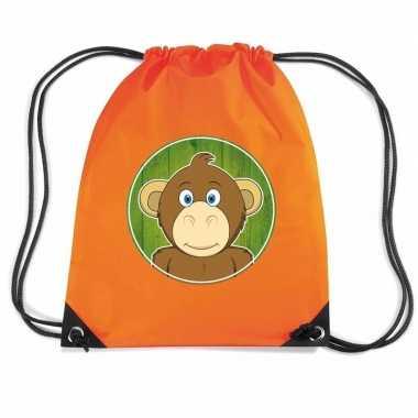 Goedkope apen rugtas / gymtas oranje voor kinderen rugzak
