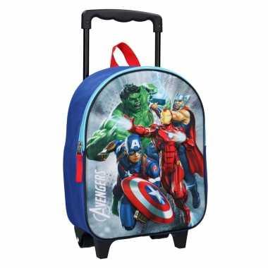 Goedkope avengers handbagage reiskoffer/trolley 31 cm voor kinderen rugzak
