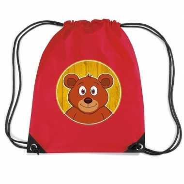 Goedkope beren rugtas / gymtas rood voor kinderen rugzak