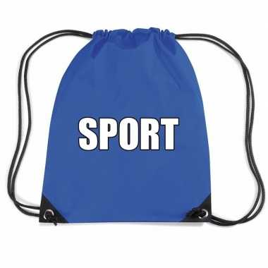 Goedkope blauw sport rugtasje/ gymtasje kinderen rugzak