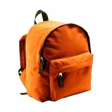 Goedkope boekentas oranje voor kinderen 9 liter rugzak