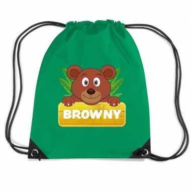Goedkope browny de beer rugtas / gymtas groen voor kinderen rugzak