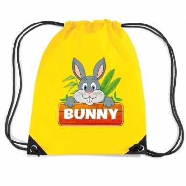 Goedkope bunny het konijn rugtas / gymtas geel voor kinderen rugzak