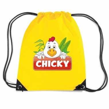 Goedkope chicky de kip rugtas / gymtas geel voor kinderen rugzak