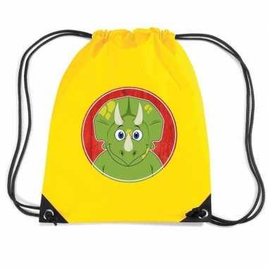 Goedkope dinosaurus rugtas / gymtas geel voor kinderen rugzak