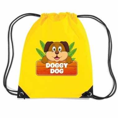 Goedkope doggy dog de hond rugtas / gymtas geel voor kinderen rugzak