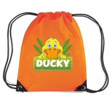 Goedkope ducky de eend rugtas / gymtas oranje voor kinderen rugzak