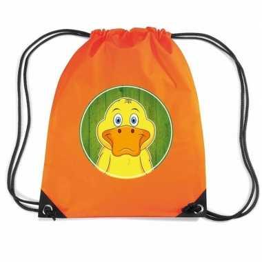 Goedkope eenden rugtas / gymtas oranje voor kinderen rugzak