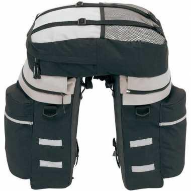 Goedkope fietstassen set met rugtas zwart grijs rugzak