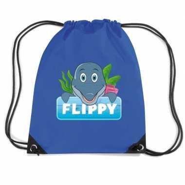 Goedkope flippy de dolfijn rugtas / gymtas blauw voor kinderen rugzak