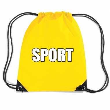 Goedkope geel sport rugtasje/ gymtasje kinderen rugzak