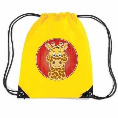 Goedkope giraffe rugtas / gymtas geel voor kinderen rugzak