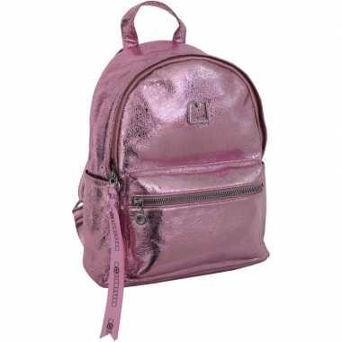 Goedkope glitter leren backpack/rugzak roze 25 x 30 cm marshmallow vo