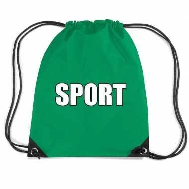 Goedkope groen sport rugtasje/ gymtasje kinderen rugzak