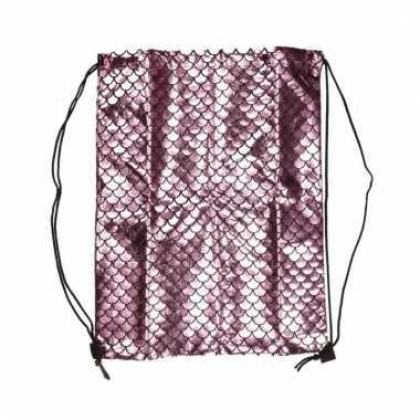 Goedkope gym tasje roze schubben met rijgkoort rugzak