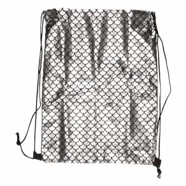 Goedkope gym tasje zilveren schubben met rijgkoort rugzak
