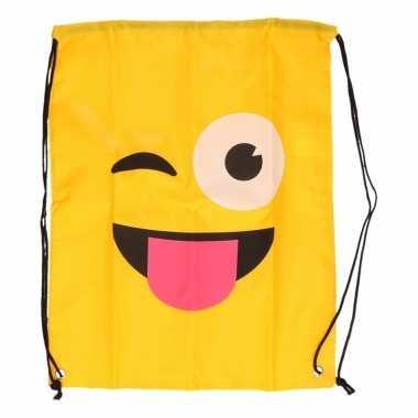 Goedkope gymtas geel smiley knipoog met tong rugzak