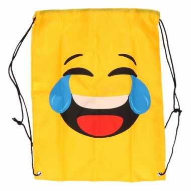 Goedkope gymtas geel smiley lol rugzak