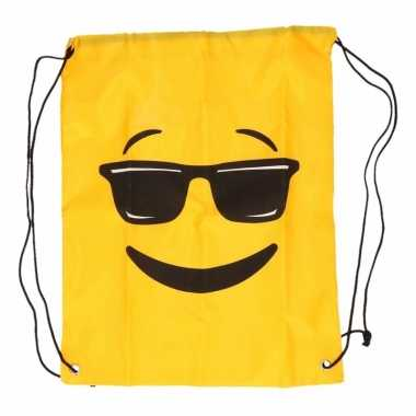 Goedkope gymtas geel smiley zonnebril rugzak