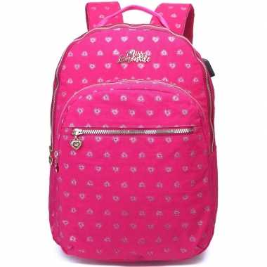 Goedkope hartjes backpack/rugzak roze met zilver 32 x 42 cm marshmall