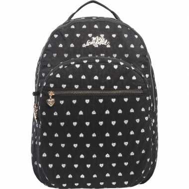 Goedkope hartjes backpack/rugzak zwart met zilver 32 x 42 cm marshmal
