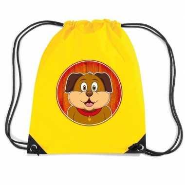 Goedkope honden rugtas / gymtas geel voor kinderen rugzak