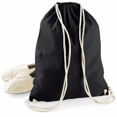 Goedkope katoenen sporttasje/zwemtasje zwart met rijgkoord rugzak