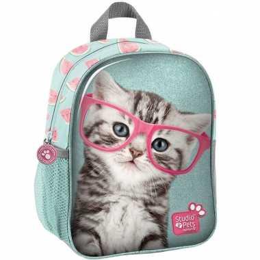 Goedkope katten/poezen school rugtas/rugzak 28 cm voor peuters/kleuters/kinderen