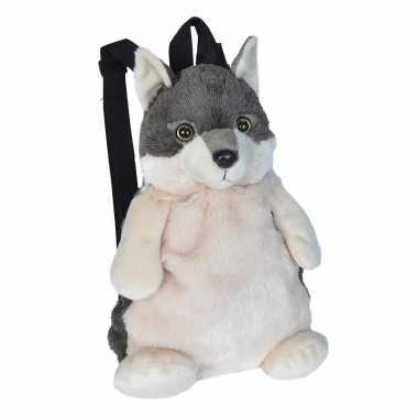 Goedkope kinder rugzakje pluche wolf knuffeldier 33 cm