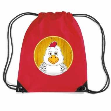 Goedkope kippen rugtas / gymtas rood voor kinderen rugzak