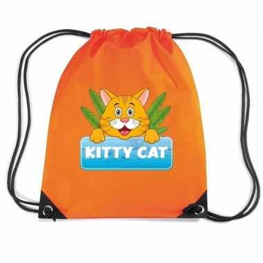 Goedkope kitty cat katten rugtas / gymtas oranje voor kinderen rugzak