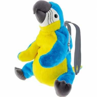 Goedkope knuffel rugzakje/rugtasje ara papegaai vogels 32 cm knuffels