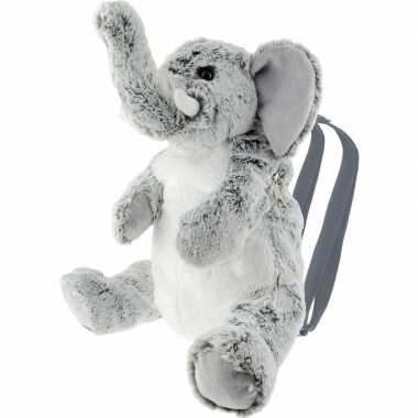 Goedkope knuffel rugzakje/rugtasje olifant grijs 25 cm knuffels kopen