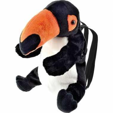 Goedkope knuffel rugzakje/rugtasje toekan vogels 32 cm knuffels kopen