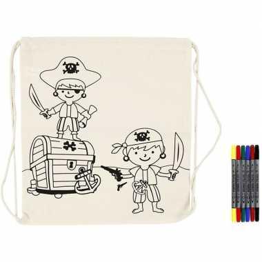 Goedkope knutselset rugtasje piraat met textielstiften rugzak