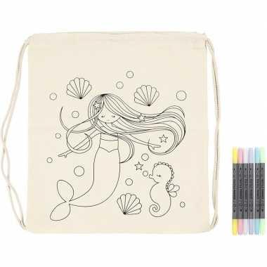 Goedkope knutselset rugtasje zeemeermin met textielstiften rugzak