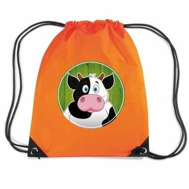 Goedkope koeien rugtas / gymtas oranje voor kinderen rugzak