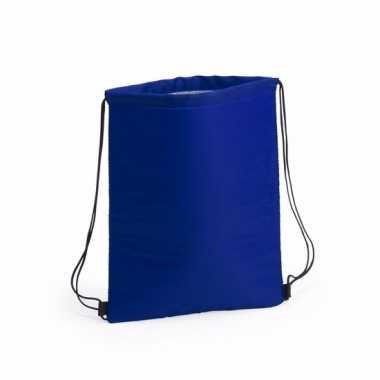 Goedkope koel rugtas blauw met rijgkoord rugzak