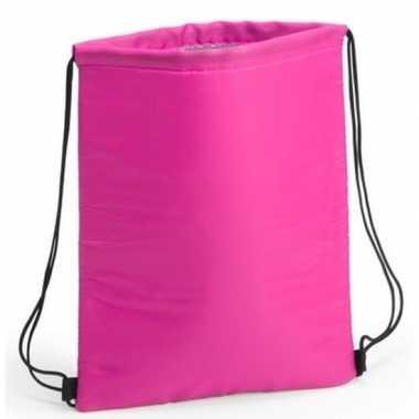 Goedkope koeler koeltassen fuchsia roze 32 x 42 cm gymtasje/rugzakje