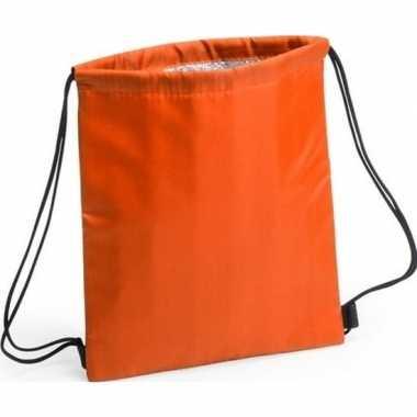 Goedkope koeler koeltassen oranje 27 x 33 cm gymtasje/rugzakje