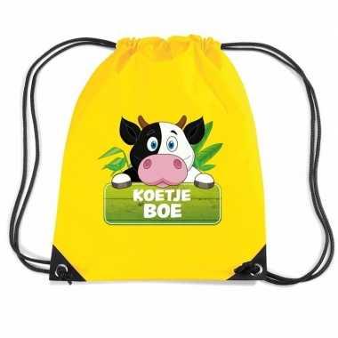 Goedkope koetje boe koeien rugtas / gymtas geel voor kinderen rugzak