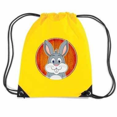 Goedkope konijnen rugtas gymtas geel voor kinderen rugzak