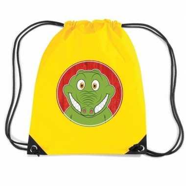 Goedkope krokodillen rugtas / gymtas geel voor kinderen rugzak