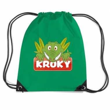 Goedkope kroky de krokodil rugtas / gymtas groen voor kinderen rugzak