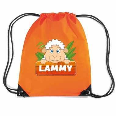Goedkope lammy het schaap rugtas / gymtas oranje voor kinderen rugzak