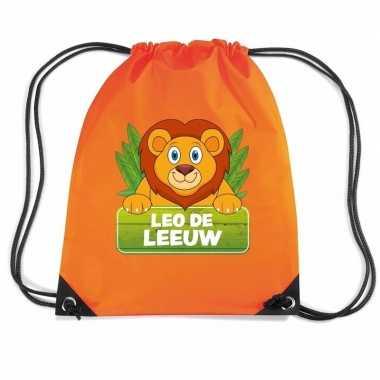 Goedkope leo de leeuw rugtas / gymtas oranje voor kinderen rugzak