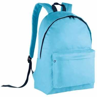 Goedkope lichtblauwe gymtas rugzak voor kids 38 cm