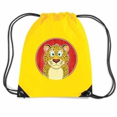 Goedkope luipaarden rugtas / gymtas geel voor kinderen rugzak